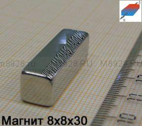 Магнит N33 8x8x30мм